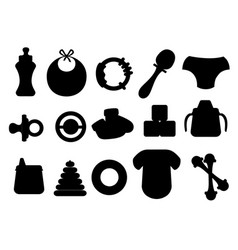 Black silhouette baby icons set baby toys bottles vector