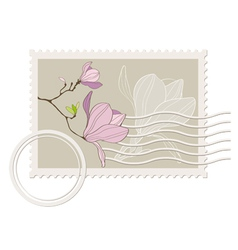 blank post stamp with magnolia vector image