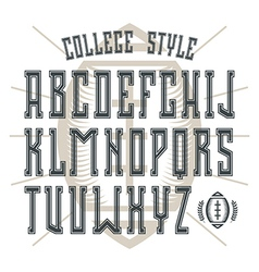 Bold serif font in college style with contour vector