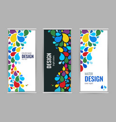 bright drops of paint universal design roll up on vector image