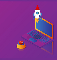 business startup rocket launch from laptop vector image