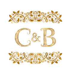 C and b vintage initials logo symbol letters c vector