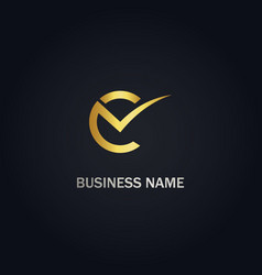 c checklist business logo vector image