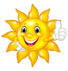 Cartoon sun giving thumbs up isolated vector image
