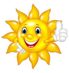 Cartoon sun giving thumbs up isolated vector