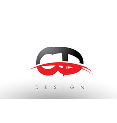 Cd c d brush logo letters with red and black vector