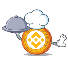 Chef with food binance coin mascot catoon vector