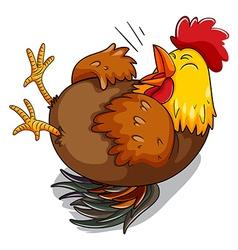 Chicken hen laughing on floor vector