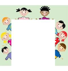 Children holding blank paper vector