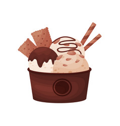 Chocolate balls ice cream in a brown cardboard vector