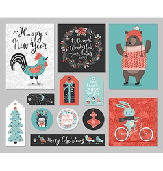 Christmas card set hand drawn style vector image