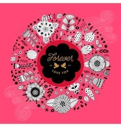 Circle floral wreath design vector