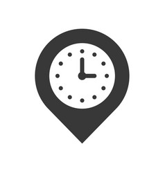 clock and pin place location and timer icon pixel vector image