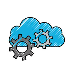 cloud computing gears mechanical work icon vector image