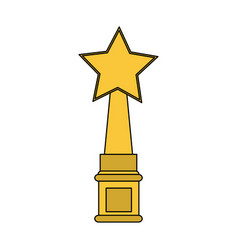 Color image cartoon golden trophy with symbol star vector