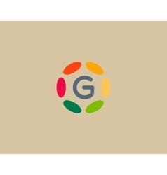 Color letter g logo icon design hub frame vector