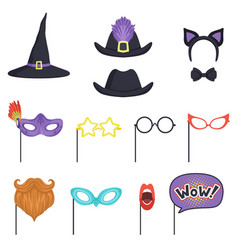 Colorful set with carnival masks and hats witch vector