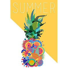 Colorful summer pineapple geometric modern design vector image