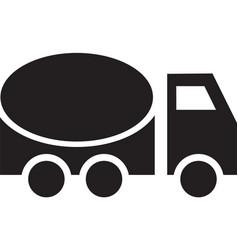 concrete mixer on road black icon vector image