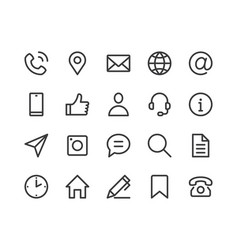 contact us line icon minimal vector image
