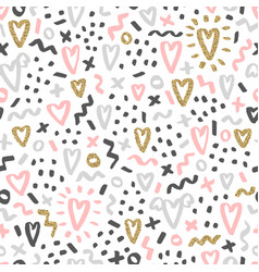 Cute romantic doodle seamless pattern vector