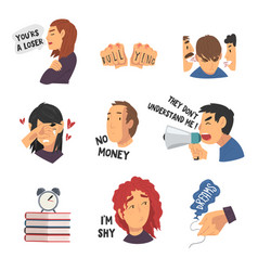 Depressed teenagers in stressful situations vector