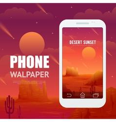 Desert concept for phone wallpaper vector