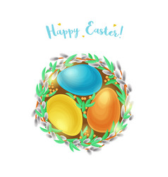 Easter egg nest with willow branches vector