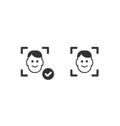 Face recognition system icon vector