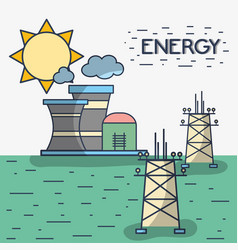 factory pollution with energy towers vector image