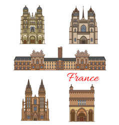 France landmarks travel buildings icons vector