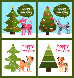 Funny cartoon dogs wishes happy new year in bubble vector