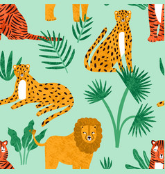 funny feline with tropical plants seamless pattern vector image