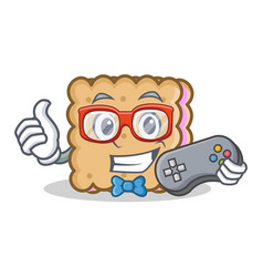 gamer biscuit cartoon character style vector image