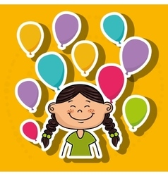 Girl balloons party cartoon vector
