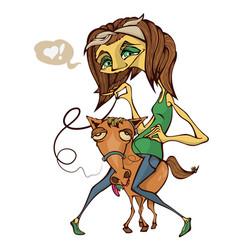 girl riding a small white funny pony cartoon vector image