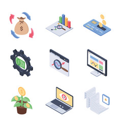 global fundraising and financial trends isometric vector image