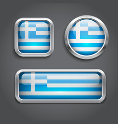 Greece flag glass buttons vector image