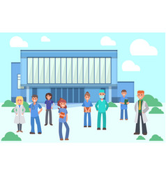 group doctors and nurses near hospital banner vector image