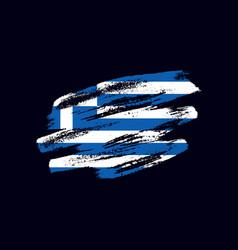 Grunge textured greek flag vector
