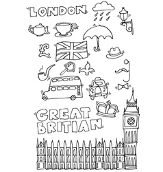 Hand drawn London set vector