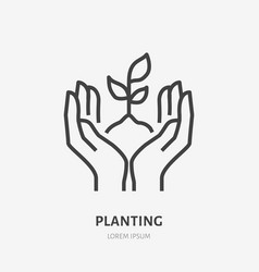 hands holding soil with plant flat line icon vector image