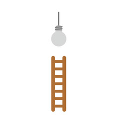 icon concept of reach grey light bulb with ladder vector image