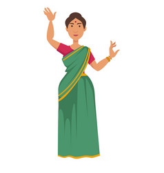 Indian woman in sari dancing nationality travel vector