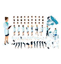 Isometric constructor is a female doctor vector
