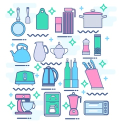 kitchen appliances utensils and kitchenware vector image