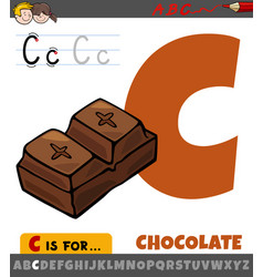 Letter c from alphabet with cartoon chocolate vector