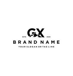 Letter gx mountain logo design vector
