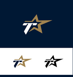 letter t logo template with star design element vector image