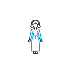 long dress thin line stroke icon long vector image